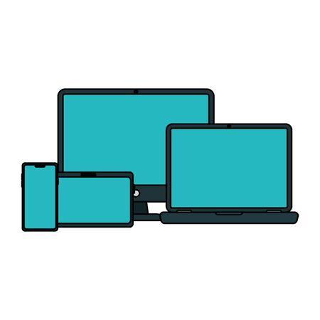 Laptop computer tablet and smartphone design, Digital technology communication social media internet web and screen theme Vector illustration