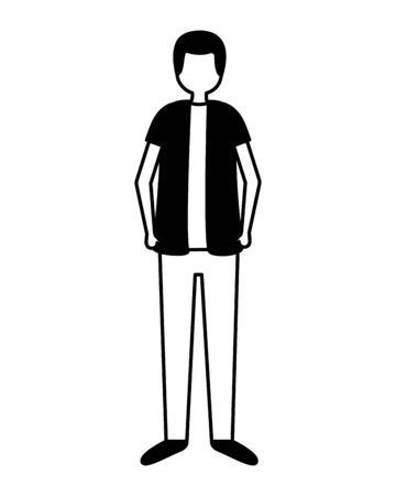 man with backpack standing activity outdoors on white background vector illustration Reklamní fotografie - 132220666