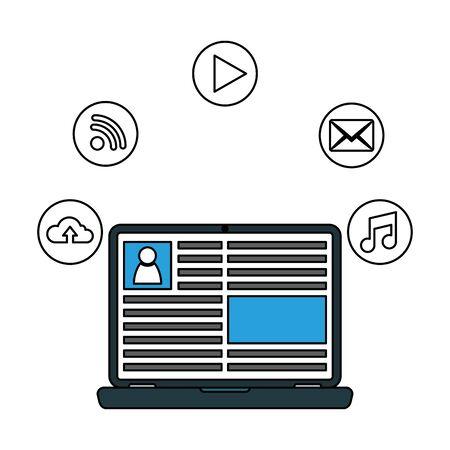 Social media and multimedia icon set, Apps communication digital marketing and internet theme Vector illustration Stock Vector - 129501499
