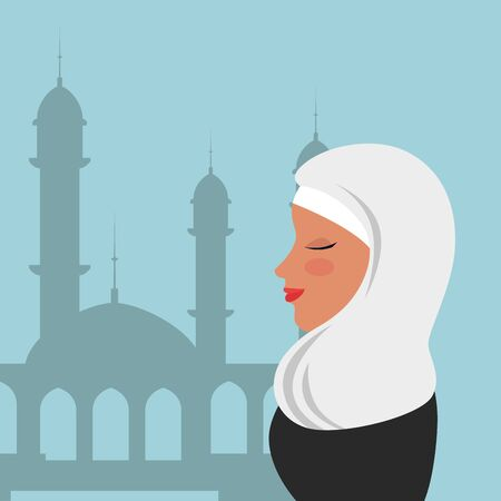 profile of islamic woman with traditional burka in mosque vector illustration design Banque d'images - 129501432