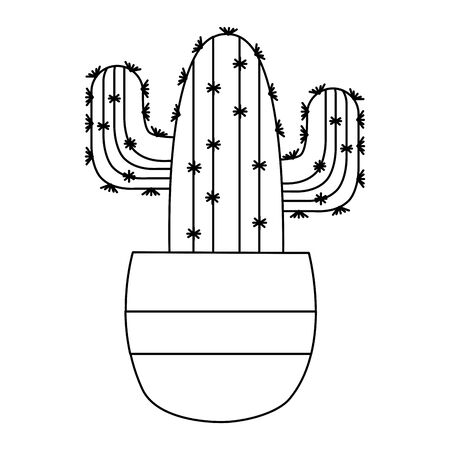 Cactus inside pot design, Plant desert nature tropical summer mexico and western theme Vector illustration 向量圖像