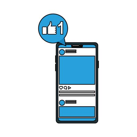 Smartphone design, Digital technology communication social media internet web and screen theme Vector illustration Çizim