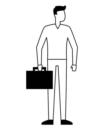 businessman character with business briefcase vector illustration