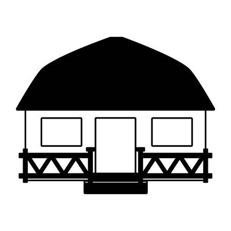 Maison de plage bungalow tropical sur illustration vectorielle fond blanc Vecteurs