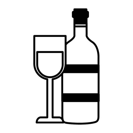 wine bottle and glass cup on white background vector illustration Stock Illustratie