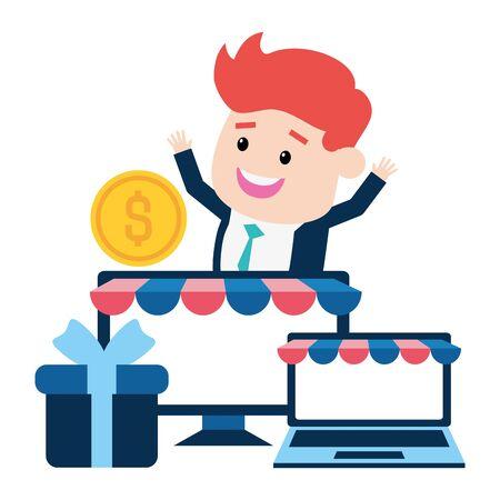 businessman online payment laptop computer gift money vector illustration Ilustração