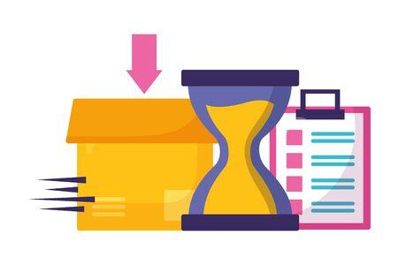 cardboard box clock fast delivery business vector illustration Illusztráció