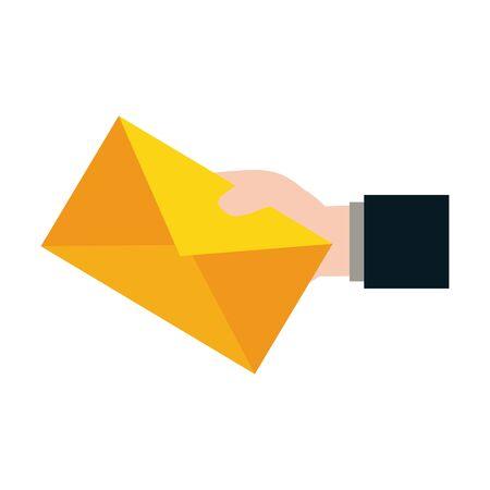 hand holding envelope send email vector illustration