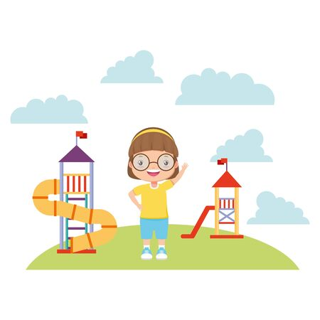 girl waving hand playground slide - kid zone vector illustration Çizim