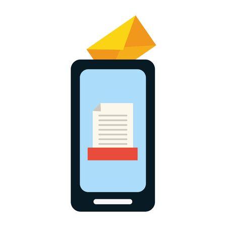 smartphone correspondence media send email vector illustration