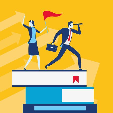 businessman and woman with telescope and flag on books business success vector illustration Stock Illustratie