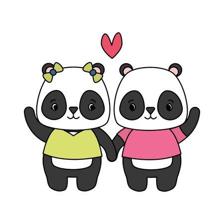 cute couple panda animal cartoon vector illustration design