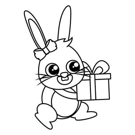 beautiful rabbit with gift easter character vector illustration design Ilustracja