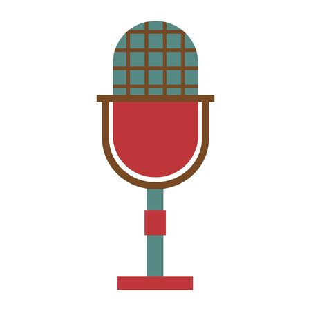 retro vintage microphone on white background vector illustration Иллюстрация