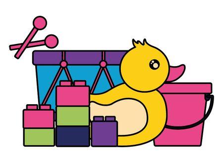 kids toys duck drum bucket blocks vector illustration
