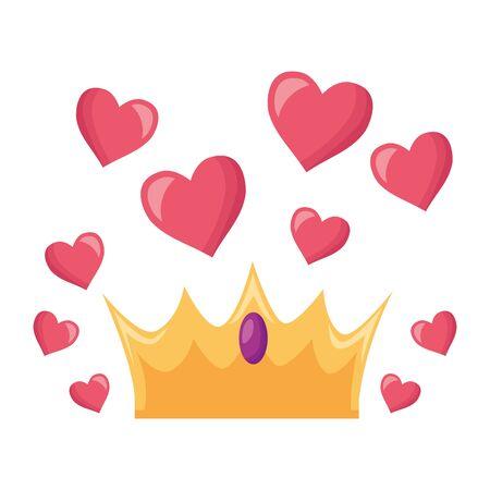 crown love hearts on white background vector illustration Archivio Fotografico - 129500500