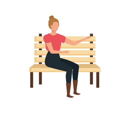 beautiful and young woman seated in park chair vector illustration design Vecteurs