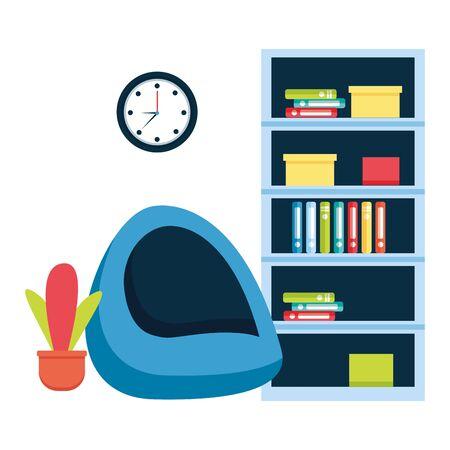 office bookshelf bean chair furniture vector illustration Illusztráció