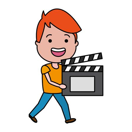man with clapperboard avatar character vector illustration desing Vettoriali
