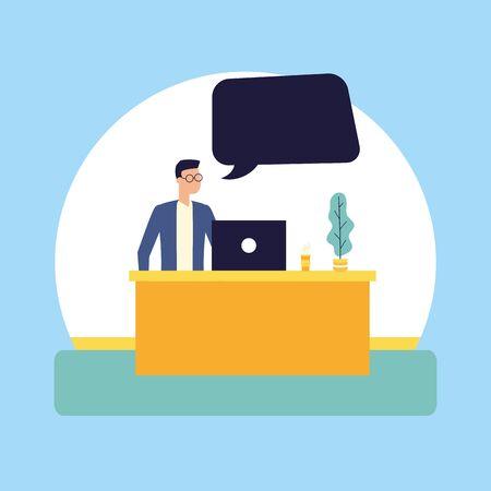 man working office laptop talking bubble vector illustration