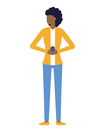 woman with smartphone in hands vector illustration