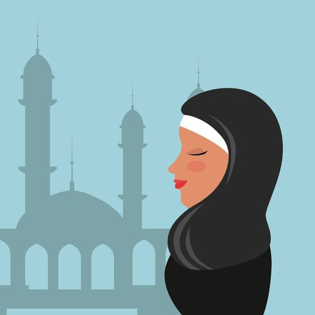 profile of islamic woman with traditional burka in mosque vector illustration design Banque d'images - 129500072