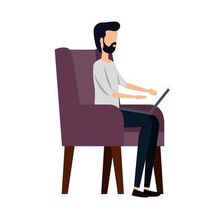elegant businessman using laptop in the sofa vector illustration design