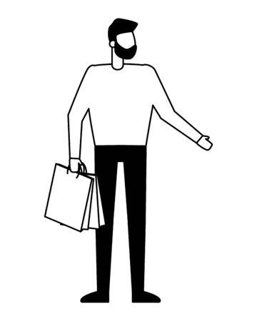 man holding shopping bag on white background vector illustration Ilustração