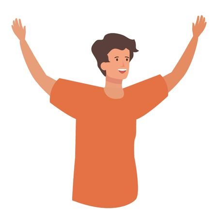 happy young man celebrating avatar character vector illustration design