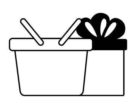 online shopping ecommerce gift and bag vector illustration
