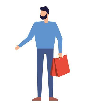 man holding shopping bag on white background vector illustration Stock Vector - 129499880