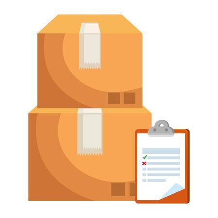 boxes carton with checklist delivery service vector illustration design Illustration
