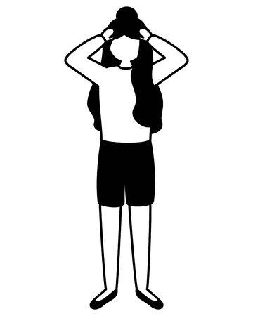 Chica con ilustración de vector de depresión psicológica mental Ilustración de vector