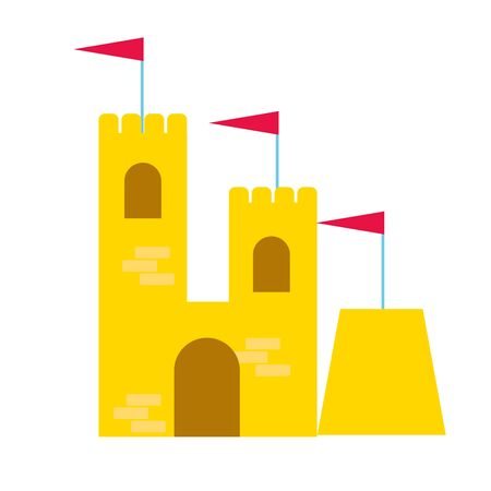 sand castle with flags on white background vector illustration