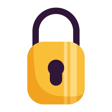 padlock security protection on white background vector illustration Çizim