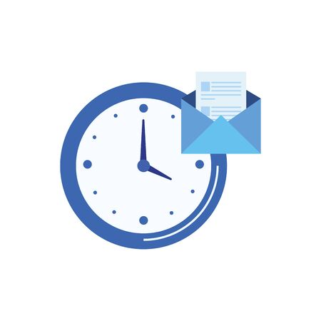 time clock watch with envelope mail vector illustration design Stock Illustratie
