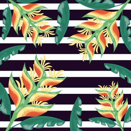 flowers tropical leaves foliage stripes dark background vector illustration