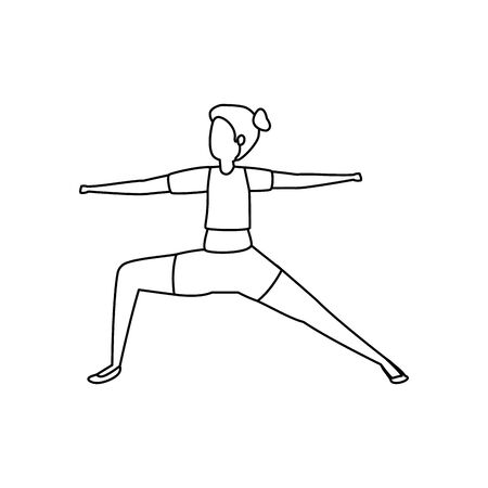 beauty woman practicing pilates position vector illustration design