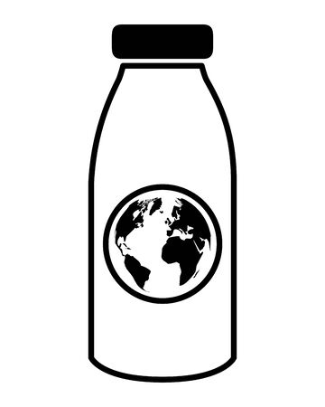 bottle world eco friendly environment vector illustration