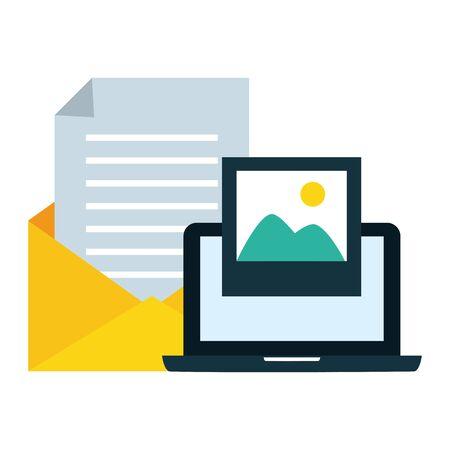 Laptop-Bild und E-Mail-Vektorillustration senden send Vektorgrafik
