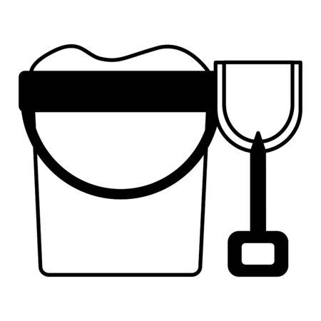 bucket shovel sand on white background vector illustration