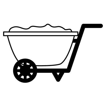 wheelbarrow with soil tools decoration gardening flat design vector illustration
