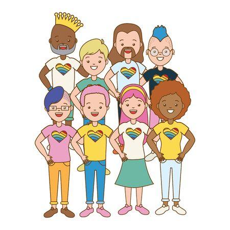 grupo, hombres y mujeres, orgullo, vector, ilustración