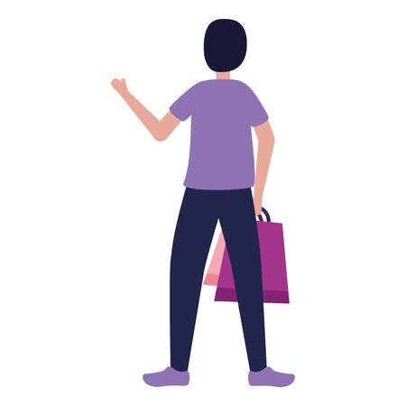 man character shopping bags vector illustration