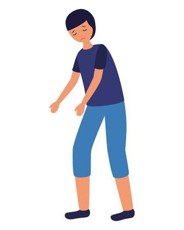 boy with sadness mental depressed vector illustration  イラスト・ベクター素材