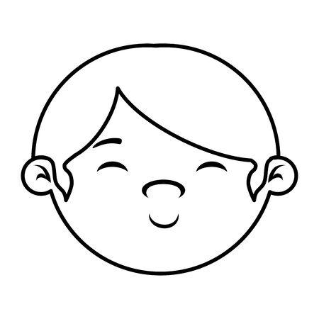 cute little boy baby head vector illustration design