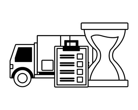 truck clipboard clock time fast delivery logistic vector illustration