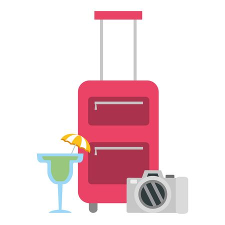vacations bag cocktail and camera vector illustration