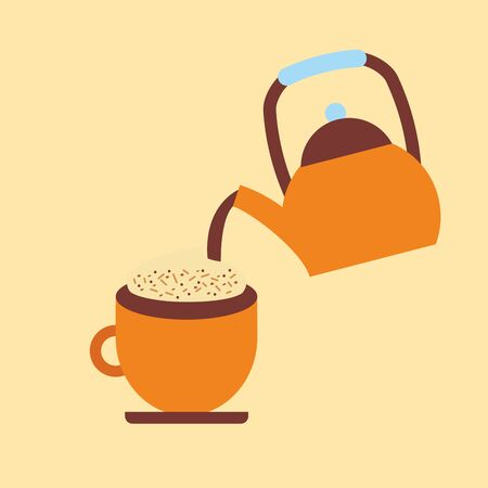 Coffee cup and kettle design, Drink breakfast beverage bakery restaurant and shop theme Vector illustration