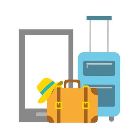 vacations smartphone bag suitcase and hat vector illustration Иллюстрация